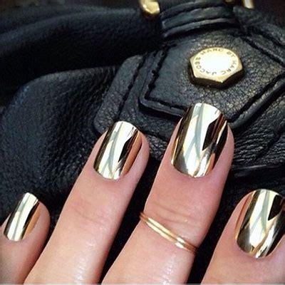 gold silver chrome nails art designs ideas