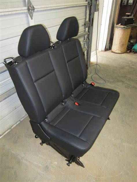 mercedes benz metris van black leather  row bench