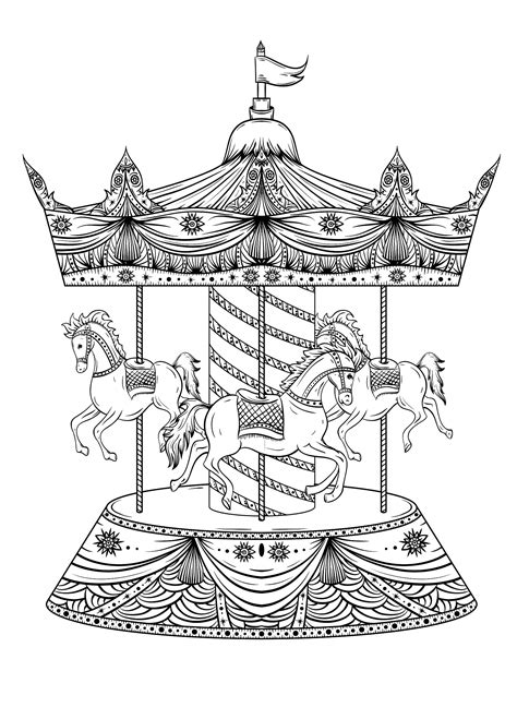 Carousel with three horses Horses Adult Coloring Pages