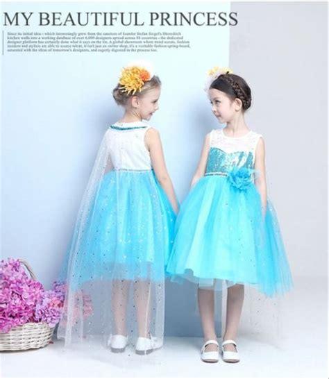 jual dress frozen bunga sayap gaun pesta princess import