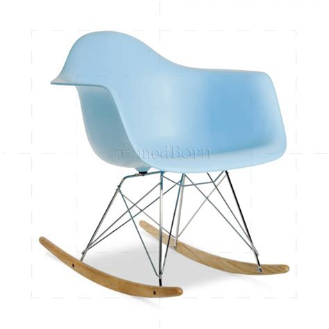 eames style dining rocking rar arm chair blue