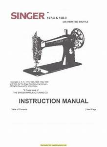 Singer 127 Sewing Machine Instruction Manual