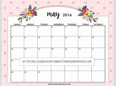 Cute Free Printable 2016 Calendars Home Printables