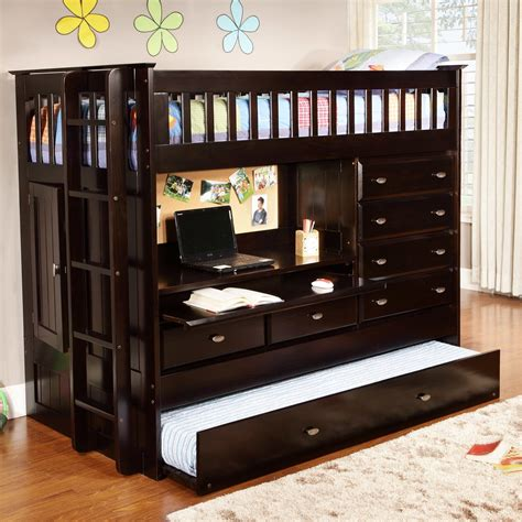 bed with desk and storage black wooden bunk bed with desk combined with many storage