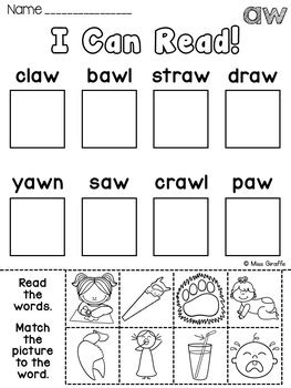 au aw worksheets activities no prep by miss giraffe tpt