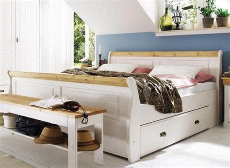 Doppelbett Mit Schubladen Bett 180x200 Weiß Gelaugt Holz