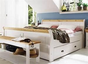 Bett Mit Stauraum 180x200 : doppelbett mit schubladen bett 180x200 wei gelaugt holz kiefer neapel ~ Frokenaadalensverden.com Haus und Dekorationen