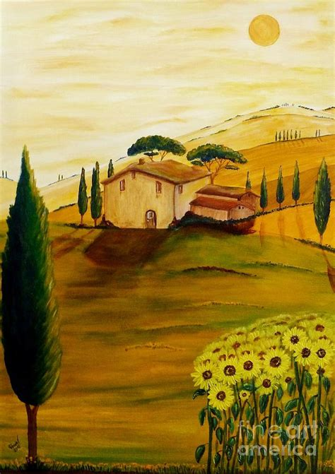 sunflowers in tuscany painting by christine huwer