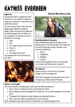 hunger games katniss character worksheet  christy nz