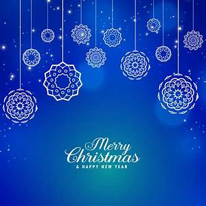 Beautiful, Blue, Merry, Christmas, Background, With, Creative, Xmas, Bal