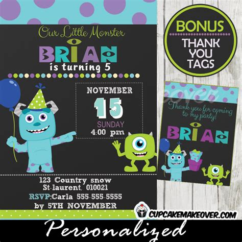 monsters  party invitation card boys personalized