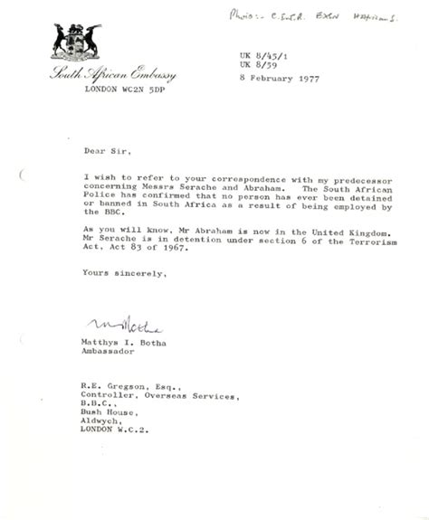 bbc archive apartheid  south africa letter