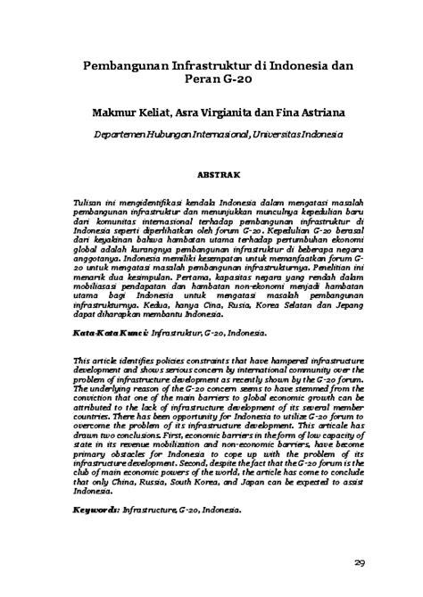 (PDF) Pembangunan Infrastruktur di Indonesia dan Peran G