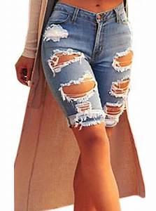Womenu0026#39;s Distressed Denim Knee Length Shorts - Blue