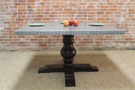 Square Zinc Pedestal Table   ECustomFinishes