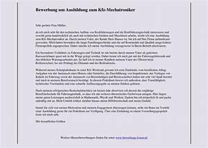 kfz mechatroniker bewerbung um ausbildung muster und tipps With bewerbungsschreiben mechatroniker ausbildung muster