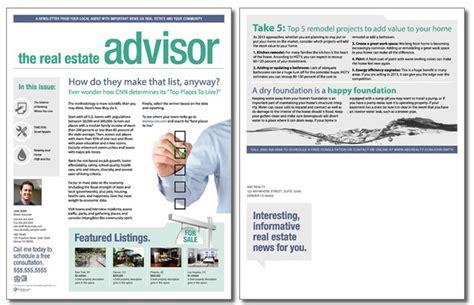 real estate newsletter templates real estate advisor newsletter template issue 7