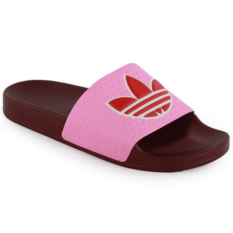 adidas adilette womens sandals  red pink