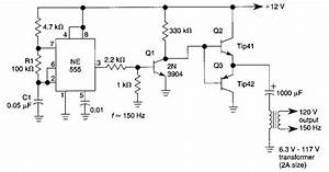 Simple Dc  Ac Inverter Circuit Diagram