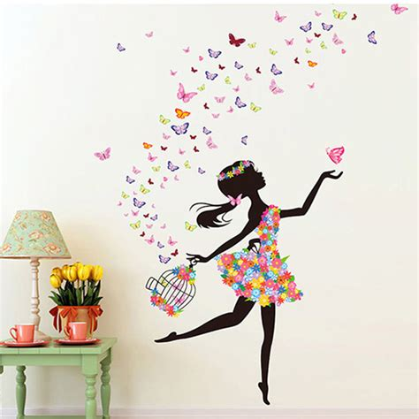 stickers muraux chambre ado fille fashion modern diy decorative mural pvc butterfly