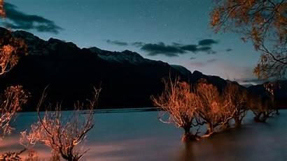 Lake Mountains Trees Sky Starry Twilight 4k