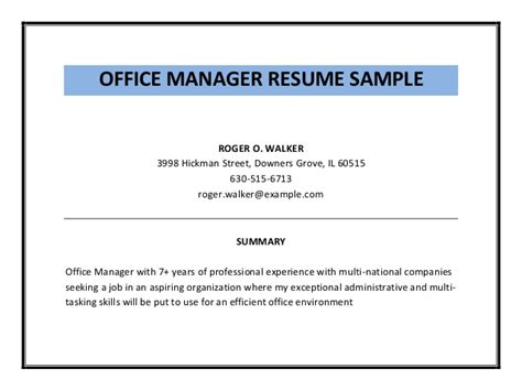 Office Manager Resume Pdf by Office Manager Resume Sle Pdf