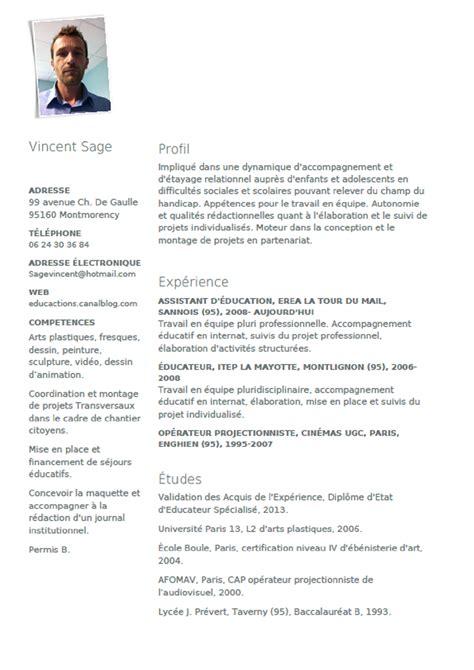 educateur technique spécialisé cuisine modele cv educateur technique specialise cv anonyme