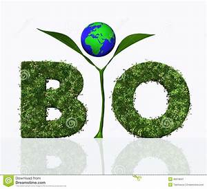 bio word with a plant and the world stock image image With plant letters