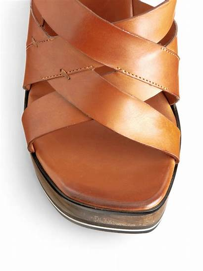 Wedge Leather Sandals Costume National Brown Tobacco