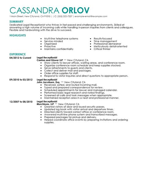 Exle Of Salon Receptionist Resume by Receptionist Resume Exle Sle Resumes Livecareer