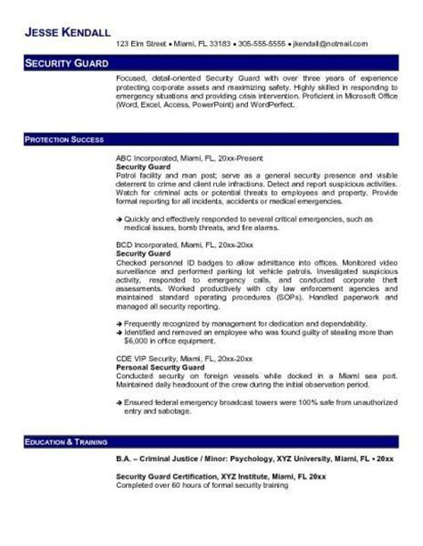 security sle resume objectives security guards companies