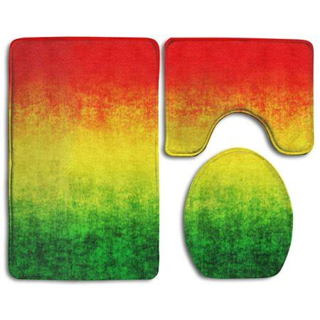 chaplle red gradient yellow green  piece bathroom rugs set bath rug contour mat  toilet lid