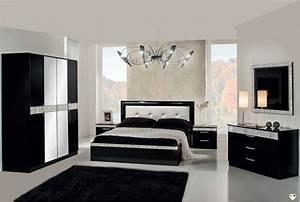 Deco Chambre A Coucher : glamour laque noir ensemble chambre a coucher ~ Melissatoandfro.com Idées de Décoration