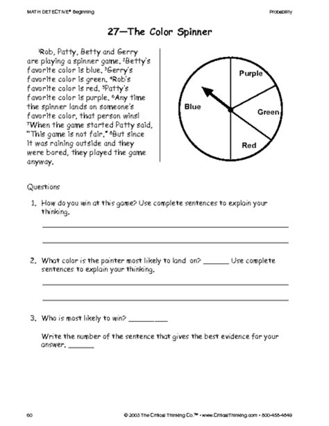 critical thinking worksheet grades 3 5 color game education world