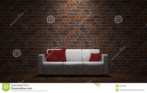 sofa  front  brick wall stock illustration image