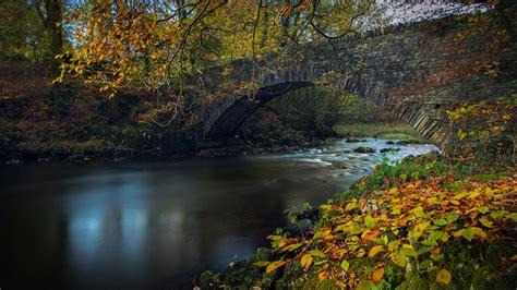 England Foliage River Lake Under Bridge HD Nature ...