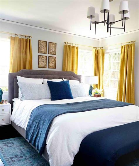 gorgeous blue  gold bedroom designs fit  royalty