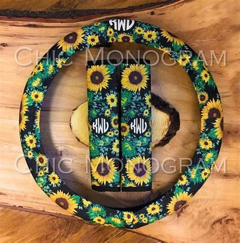monogrammed sunflower steering wheel cover seat belt