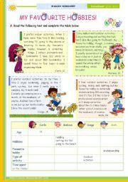 english worksheets the 1st 45 minute lesson of 2 the topic my favourite hobbies reading