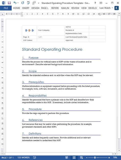 standard operating procedure templates ms wordexcel