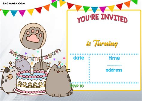 printable pusheen birthday invitation template