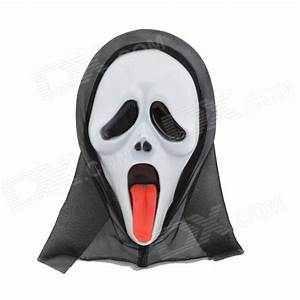 Cool Screaming Mask w/ Tongue - White + Black + Red - Free ...