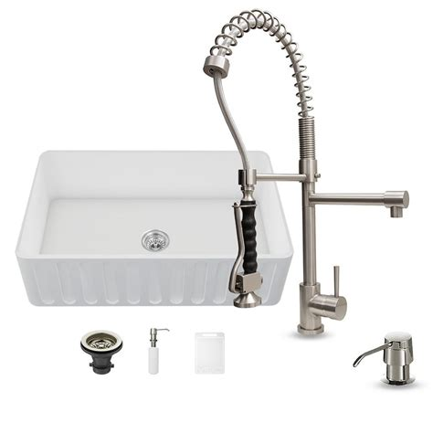 farmhouse kitchen faucets vigo all in one farmhouse matte stone 36 in 0 hole kitchen sink and zurich stainless steel