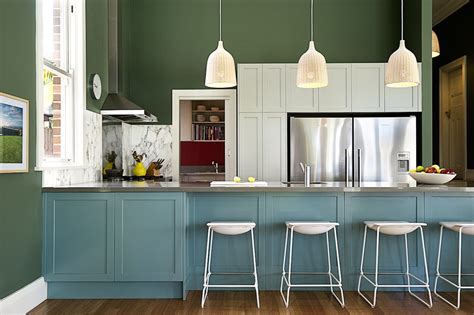 seafoam green color kitchen transitional  blue