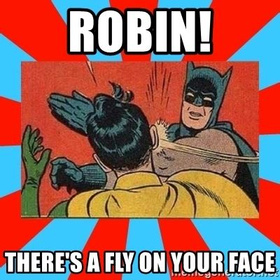 Batman And Robin Memes - robin there s a fly on your face batman bitchslap meme generator