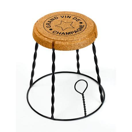 giant champagne cork wire cage muselet stoolside table
