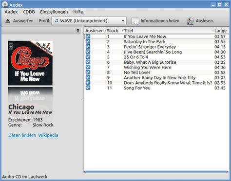 der schlanke audio cd ripper audex linuxcommunity