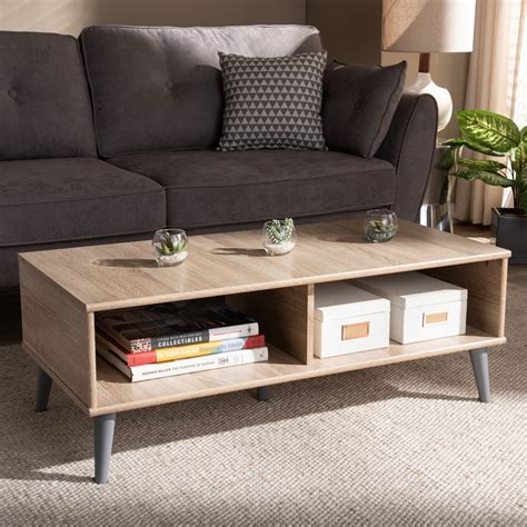 Enjoy free shipping on most stuff, even big stuff. Baxton Studio Pierre Mid-Century Modern Oak and Light Grey Finished Wood Coffee Table