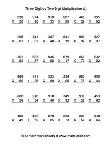 three digit by two digit multiplication worksheet for 4th