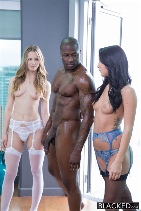 Blacked Jillian Janson & Sabrina Banks in Two Girlfriends Share a Huge Black Cock with Rob Piper ...